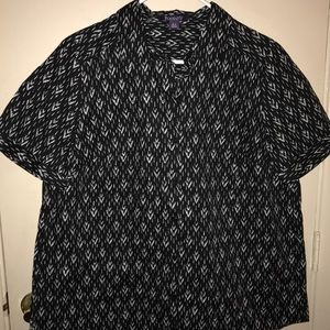 Woman's black and white printed blouse